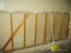 the wall without insulation or drywall