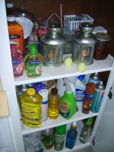 candles, soap, cleaning supplies and rags