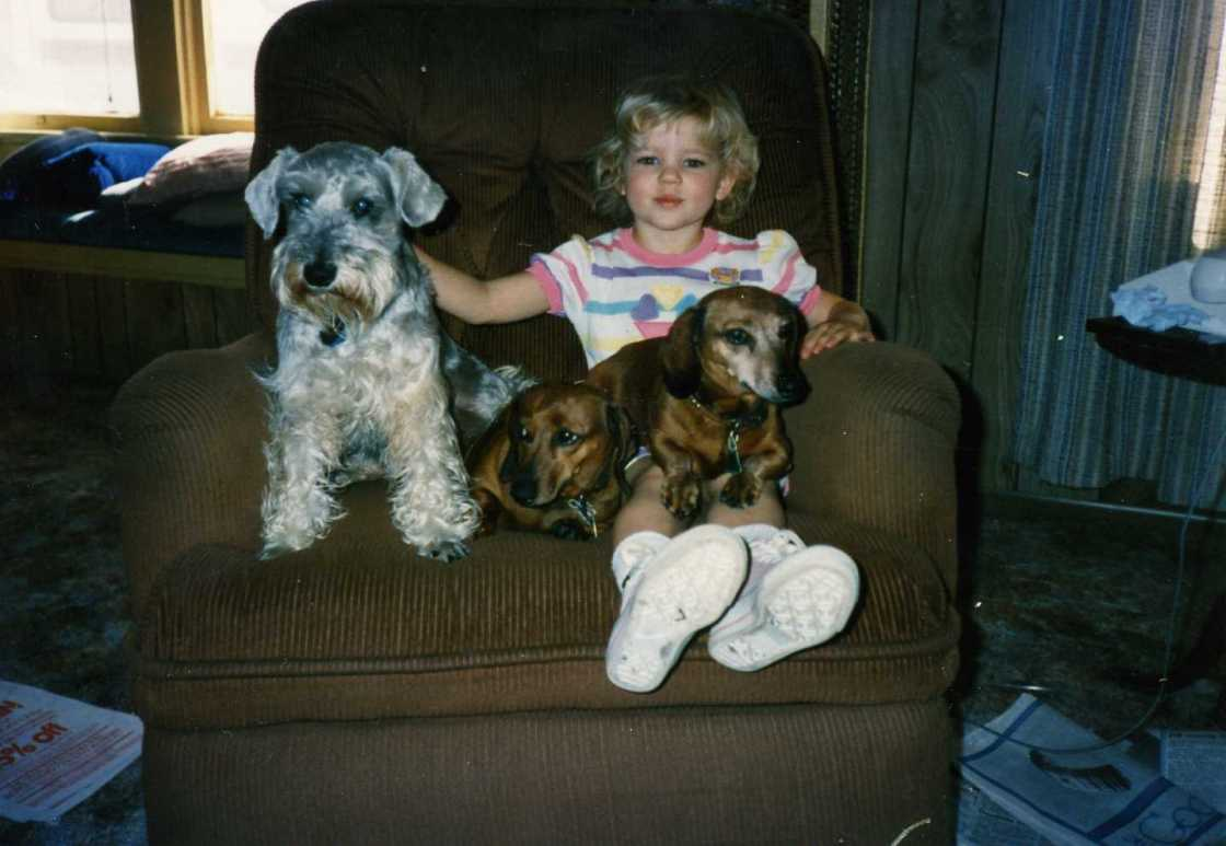 Kelly Azevedo with Ben, Tootie and Roxie 1989